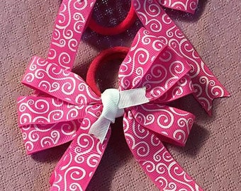 """Boutique Bow, Hair Bow, Pink Bow, Stacked Boutique, Fancy Bow, Easter Bow, Hair Tie, layered over the top, Pink and White Swirls, 4 1/2"""""""