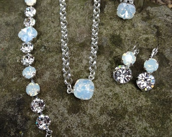 swarovski white opal jewelry set