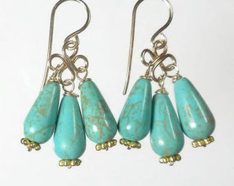 Gold Turquoise Chandelier Earrings Turquoise Drop Earrings Gold Turquoise Earrings