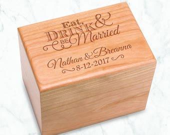 Personalized Recipe Box, Eat Drink & Be Married Recipe Box, Wedding Advice Box, Bridal Shower Gift, Cherry Recipe Holder, Family Keepsake