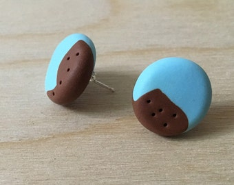 Sky Blue and Brown 5 Dots Stud Earrings