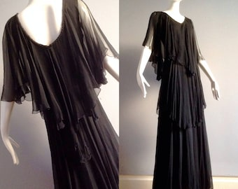 Vintage 970s French Fluttery SILK Chiffon Tiered Dress~ Vintage Bohemian Maxi ~ Long Sheer Boho Hippie Gown by Ann Marks Paris ~ Full Length