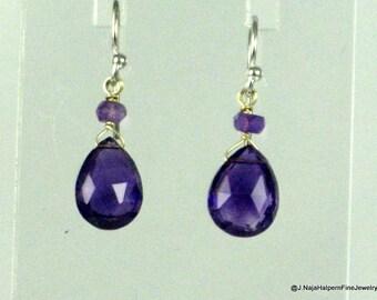 Amethyst Earrings, Amethyst Jewelry, Handmade Earrings, SMALL or MEDIUM, Sterling Silver, AAA Gemstone, February Birthstone, Real Gemstones
