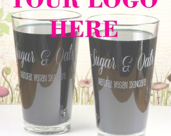 Logo etched Pint Glass (Set of 2) logo glass, logo gift, marketing material, promotional material, promotional glass, marketing glass