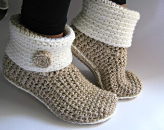 Crochet Slipper Boots with Eco Leather Soles, Women Slippers, Ankle Boots, Slouch Boots, Crochet Booties, Boot Socks, Gift for Women