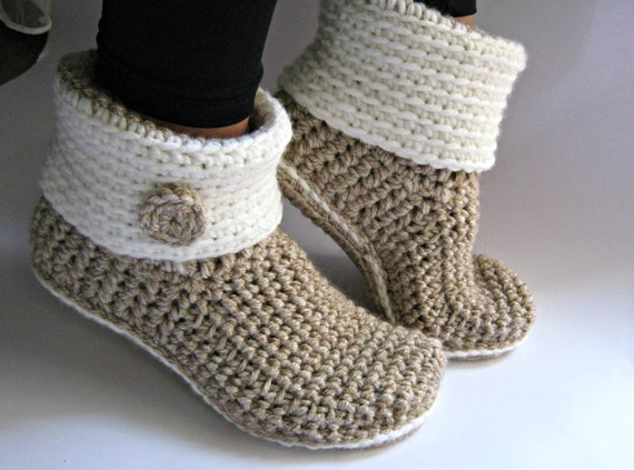 Leather Sole Shoes For Knitted Slippers
