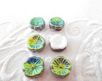 x 6 12 mm white and iridescent Czech glass flower beads bronze, green.