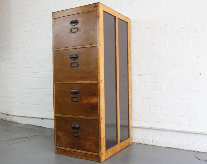Pine Bankers Filing Cabinet Circa 1930s
