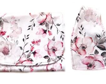 Baby gift Burp cloth and bandana bib gift set -  plum floral print