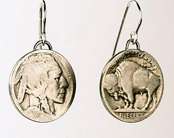 Genuine 1935 Buffalo Nickel Earriings, Indian head coin earrings