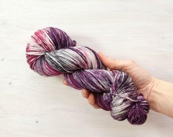 Hand dyed yarn, merino yarn, nylon yarn, dk yarn, hand dyed dk yarn, variegated yarn, purple yarn, grey yarn, pink yarn, dk yarn