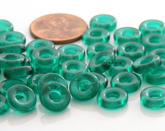 9mm Donut Ring Teal Czech Glass Beads 25
