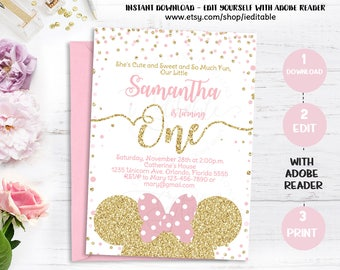 Pink and Gold Minnie mouse 1st birthday invitation first