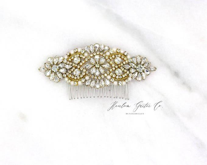 Gold Wedding Hair Comb, Pearl and Rhinestone, Bridal Headpiece, Rhinestone Hairpiece, Hair Accessory O1G