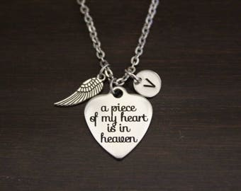 A Piece of my Heart Lives in Heaven Necklace - Memorial Necklace - Child Necklace - Loved One In Heaven - Memorial Necklace-Memorial - I/B/H