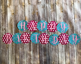 Happy Birthday Banner- Pink and Blue flamingos and polka dots
