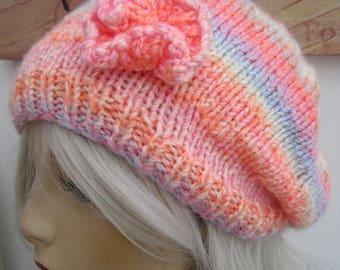 Unicorn Hat, rainbow hat, hand knit hat, cap, striped knit hat, Pink handmade hat, Cloche,