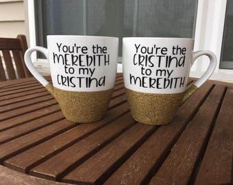 Best Friends Coffee Mug Set, Glitter Mugs, Sisters, Long Distance Friend, Best Friend Gift, Bestie Gift, BFF, 16oz White Mug