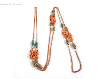 Vintage Salmon Pink Green Long Chain Necklace, Jewelry 1960s, Enamel Metal, Mid-century, Mod, Splatter, Hippie