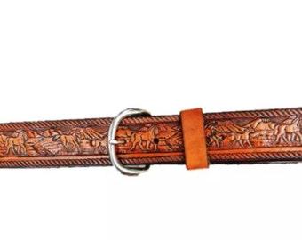 Personalized Leather Belt / Horses / Free Name