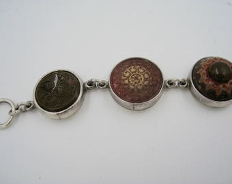 Glass Button and Sterling Silver Bracelet, Beautifully Made and Designed