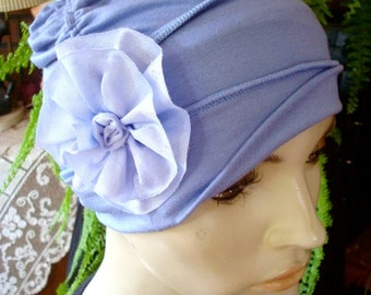 bamboo knit Ooh Lala Scrunchie Chemo Hat Hyacinth  BlueTurban slouchy Hat with  flower Chemo Headwear for women