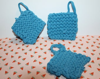 Sponge knitted square Tawashi recycled fabrics in blue