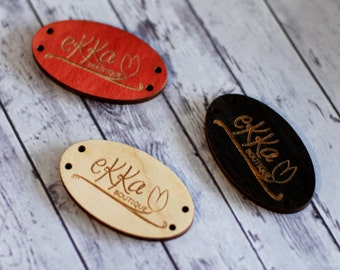 Custom wood tags, Custom wooden tags, Sew on wood labels, Oval wood buttons, Engraved tags, Personalized small tags, Wood, red, Black