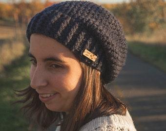 Slouchy hat with brim/Navy/Womens beanie Maya