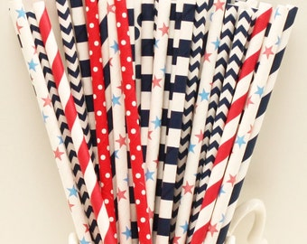 Paper Straws, 25 Navy Red Nautical Paper Drinking Straws, Fourth of July, Chevron Paper Straws, Red Striped Straws, Picnic Party, Summer