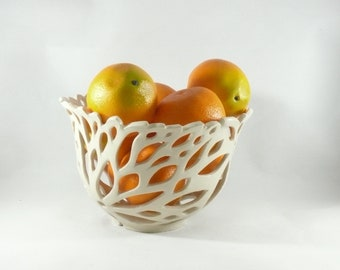 Ceramic Cut Out Art Vessel Pierced White Fruit Bowl Ceramic Colander Office Home Decor 9th Anniversary Gift for Her Ceramics and Pottery