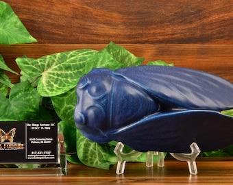 Rookwood Pottery Wall Pocket, 1917 Matt Blue Locust Cicada Wall Pocket #1636