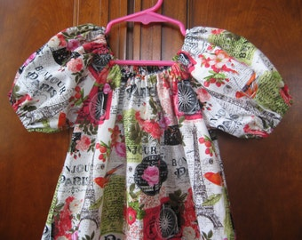 Girls Peasant Dress - Vintage Paris, Eiffel Tower, Roses - Short or Three Quarter Sleeve - Size 6M to Size 14