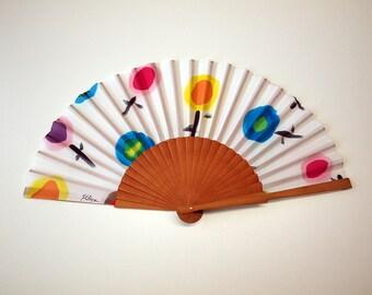 Hand fan Handpainted Silk- Abanico-Wedding gift-Giveaways-Bridesmaids- Spanish hand fan - Circles Hand Fan 17 x 9 inches (43 cm x 23 cm)