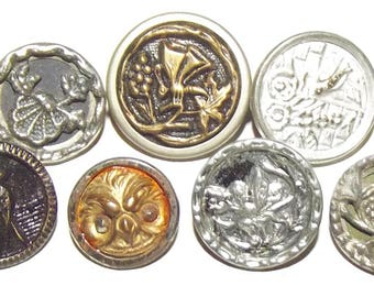 Antique Buttons ~ Antique Metal Buttons ~ Small Metal Picture Buttons Insects & Birds Owl