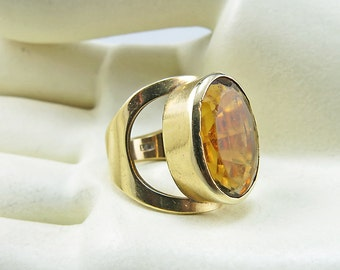 Vintage 9ct Gold Ring With Citrine Solid Gold Jewelry Statement Jewelry Vintage Ring