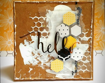 Handmade card with honeycomb, kraft paper