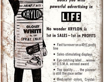 "Krylon Life Magazine Spray Paint Ad 10"" X 7"" Reproduction Metal Sign Z70"