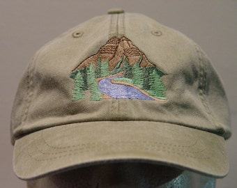 MOUNTAIN NATIONAL PARK Hat - One Embroidered Wildlife Cap - Price Embroidery Apparel - 24 Color Caps Available
