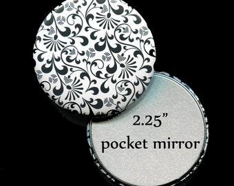 """Pocket Mirror Favors - Bridal Shower Favors - Mirror Favors - 2.25"""" Pocket Mirror - Black and White"""