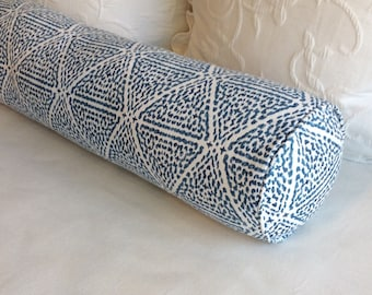Miguel Azure blue Lacefield fabric 8x30 Bolster pillow includes insert