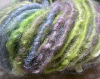 Handspun Hand Dyed Curly Textured Leicester Longwool Bulky Art Yarn in Pastels and Lime Green for Knitting Crochet Weaving by KnoxFarmFiber