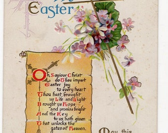 A Happy Easter Vintage Postcard with Cross, violets, scroll with verse