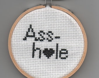Handmade RUDE  word cross stitch mini embroidery  Asshole Anti-Valentine