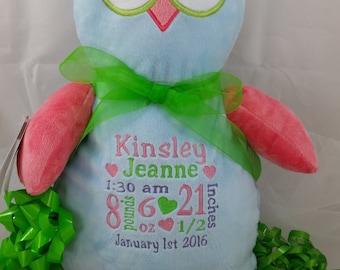Personalized Baby Gift, Owl Cubbie Stuffie with Birth Announcement, Personalized Gift for Baby by Felicia's Fancies Baby Boutique