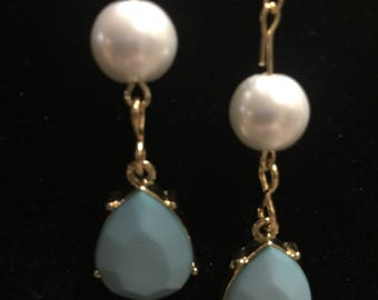 Faux pearl and blue teardrop Dangle Earrings Handmade hypoallergenic and nickel free