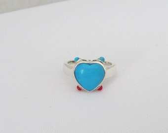 Vintage Sterling Silver Red Coral & Turquoise Heart Ring Size 6.75