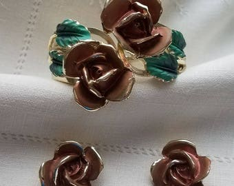 Gold edged ROSE bracelet with green leaves,matching clip on earrings