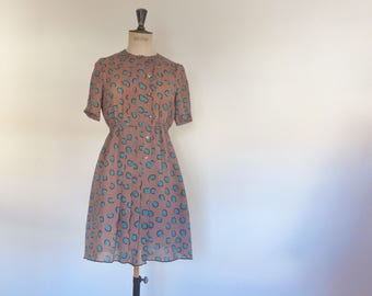 Japanese vintage dress secretary preppy modest pretty girly size S