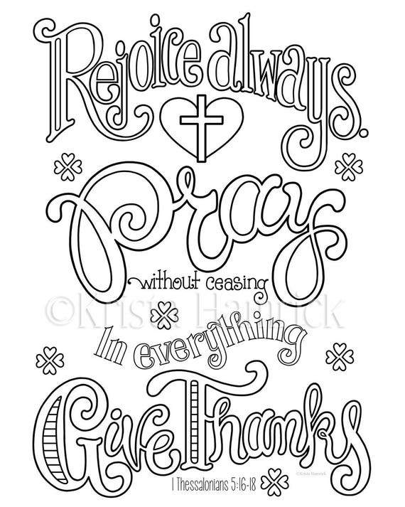 Rejoice Pray Give Thanks coloring page in two sizes 85X11